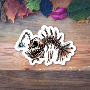 angler fish skeleton sticker