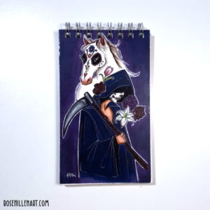 Dia De Muertos Tarot Blank Mini Notebook cover