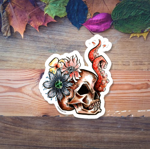 mermaid skull tentacle sticker